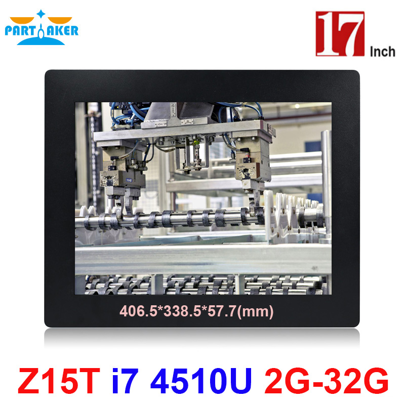 Partaker Elite Z15T 17 Inch Panel PC Industrial With Made-In-China 5 Wire Resistive Touch Screen Core I7 4510U I7 4600U