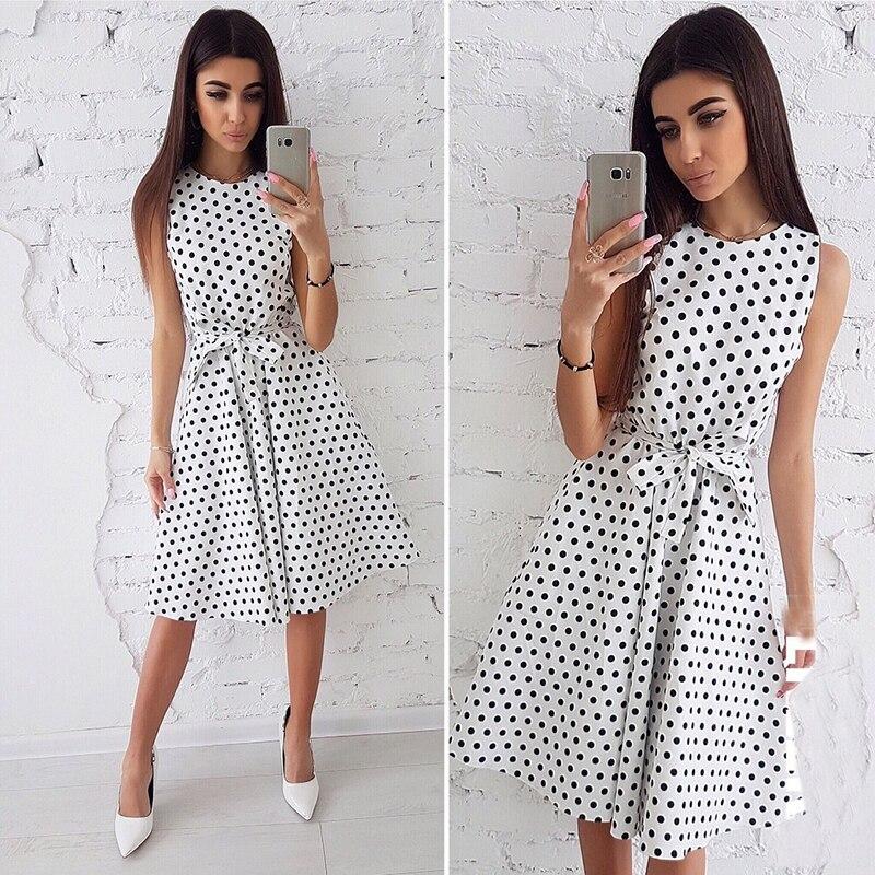 Mujeres vestido de verano 2018 moda Dot imprimir sin mangas Casual Boho vestido damas elegante Vintage rodilla-longitud Vestidos