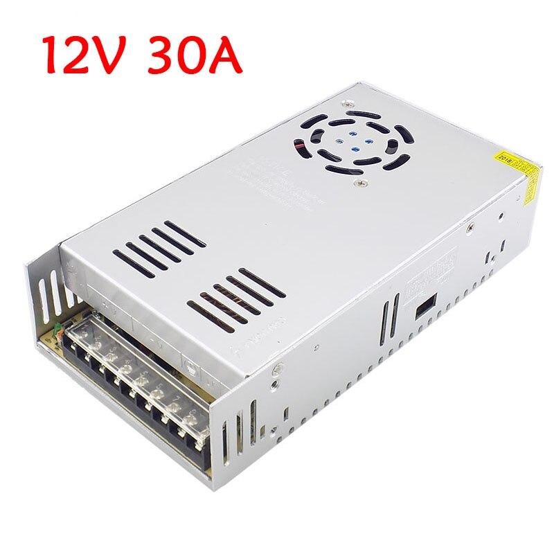 Adaptateur d'alimentation DC 12 V 30A 360 W LED transformateurs d'éclairage alimentation AC 110 V 220 V pour conducteur de LED interrupteur de lumière de bande LED