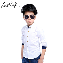 ActhInK 2019 New Arrival Boys Long Sleeve White Shirt Formal Wedding Shirts Kids Cotton Big Casual