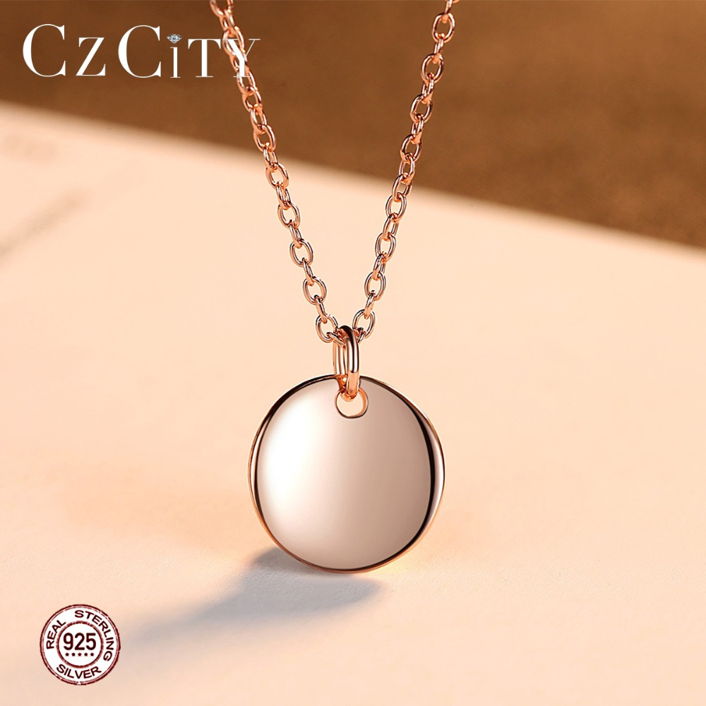 CZCITY conception simple 925 Sterling Argent Rond Pendentif Collier pour les Femmes pour la Datation Partie À La Mode Or Rose Femelle bijoux fins