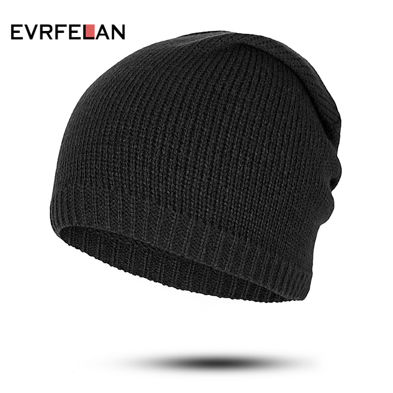 a0e32595182 Evrfelan Solid Color Autumn Winter Beanie Hats Women Knitted Skullies Beanies  Hat Female Casual Outdoor Hat