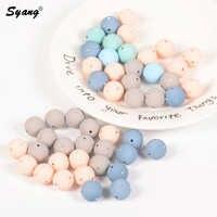 Silikon Perlen Gerade Loch Nachahmung Perle Perle 14/16mm Runde Perle Punkt Bohrer Perlen für DIY Schmuck Machen 15 teile/los