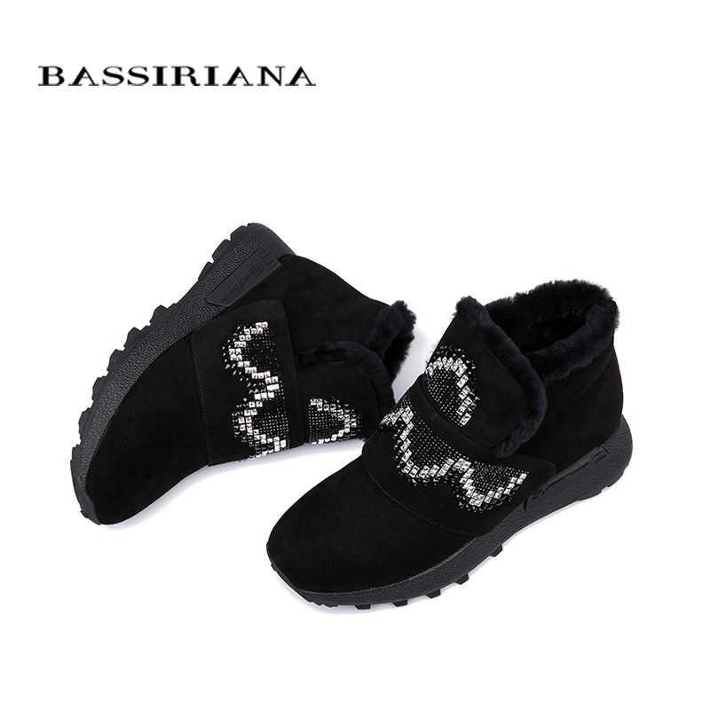 BASSIRIANA-hakiki süet deri yarım çizmeler kış yeni flats ayakkabı kadınlar için, rus boyutları 35-40 ücretsiz kargo