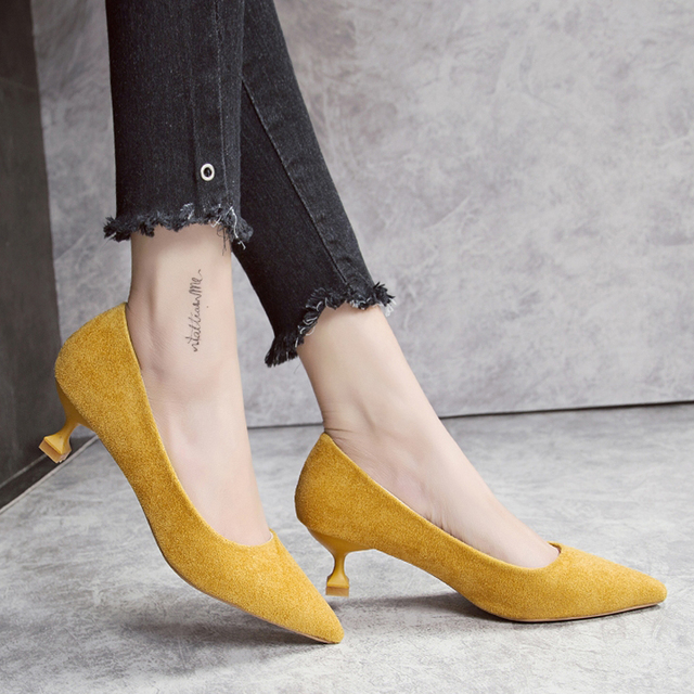 0a30f0f58ce SLHJC Autumn Low Kitten Heel Pumps Shoes Classic Stiletto Heels Pointed Toe  Women New 2018 Office Work Pumps Slip On 3 CM