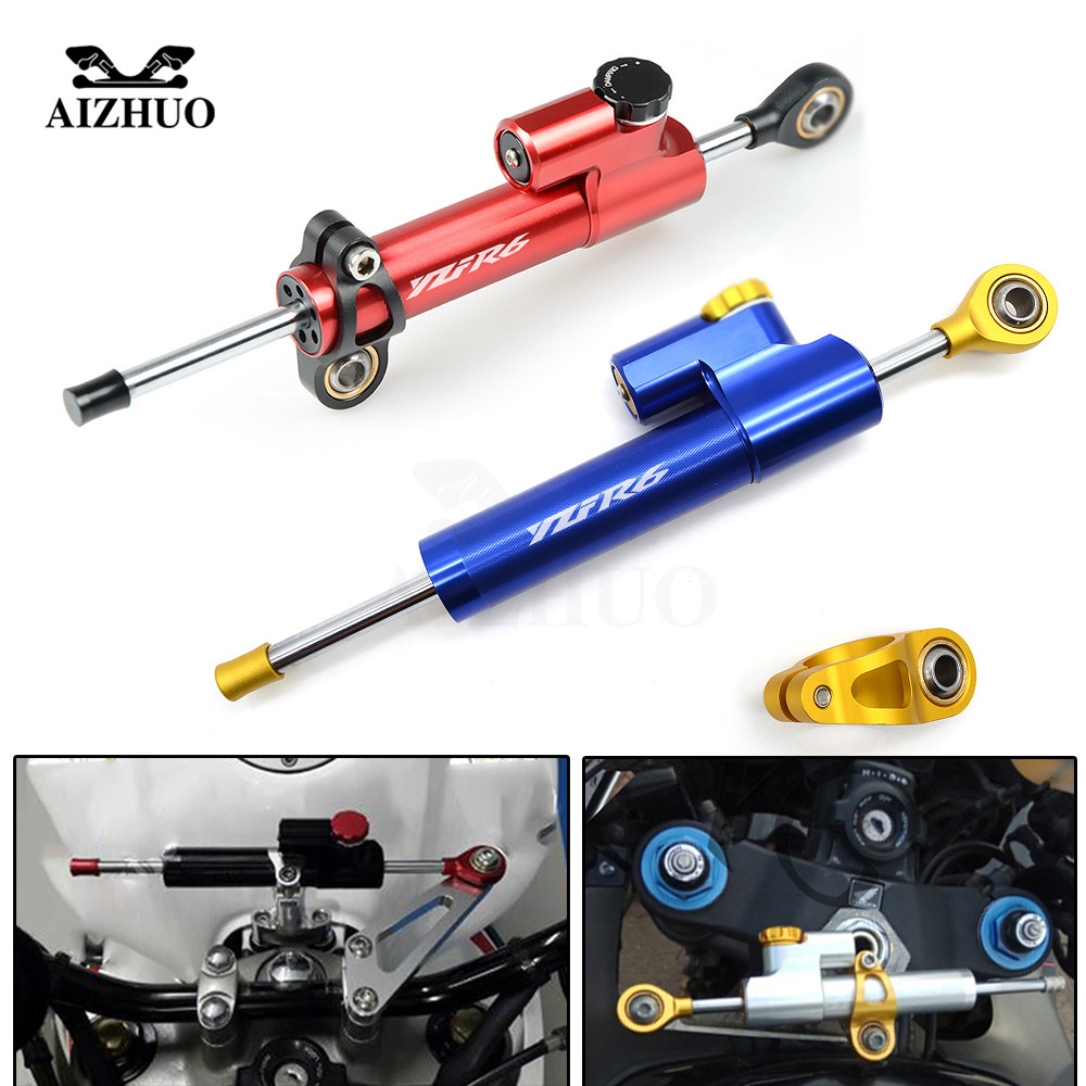 CNC Aluminum YZF R6 LOGO Motorcycle Damper Steering Stabilize Safety Control For YAMAHA YZF R6 1999 2010 2011 2012 2013 2004 for yamaha yzf r6 1999 2004 yzf r1 2002 2003 fz1 fazer 2001 2005 motorcycle damper steering stabilize safety control aluminum