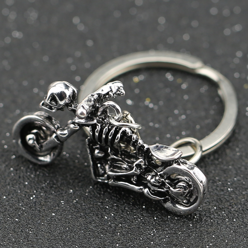 Ghost Rider Keychain Motorcycle Motorbike Autobike Skeleton Skull Rib Keyring Key Chain Ring Vintage Punk Hot Jewelry Wholesale
