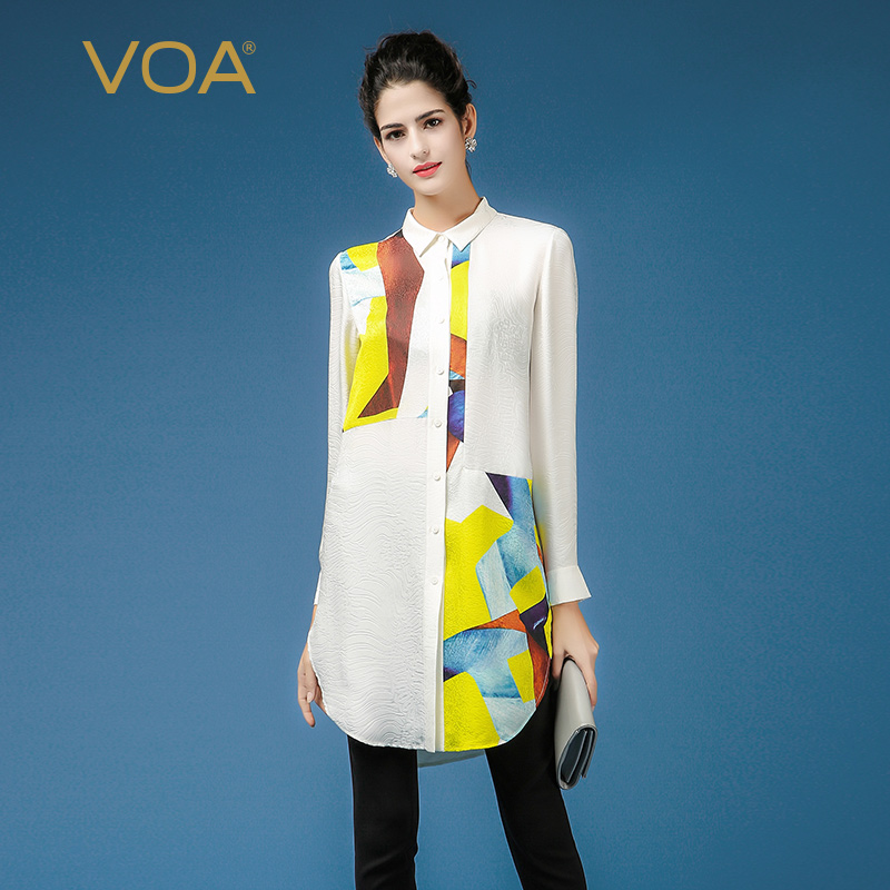 Yellow And White Splice Blouse For font b Women b font VOA Long Sleeve Turn Down