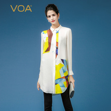 Yellow And White Splice Blouse For Women VOA Long Sleeve Turn Down Collar Silk Dobby Shirts Plus Size Ladies Long Blouse B7369