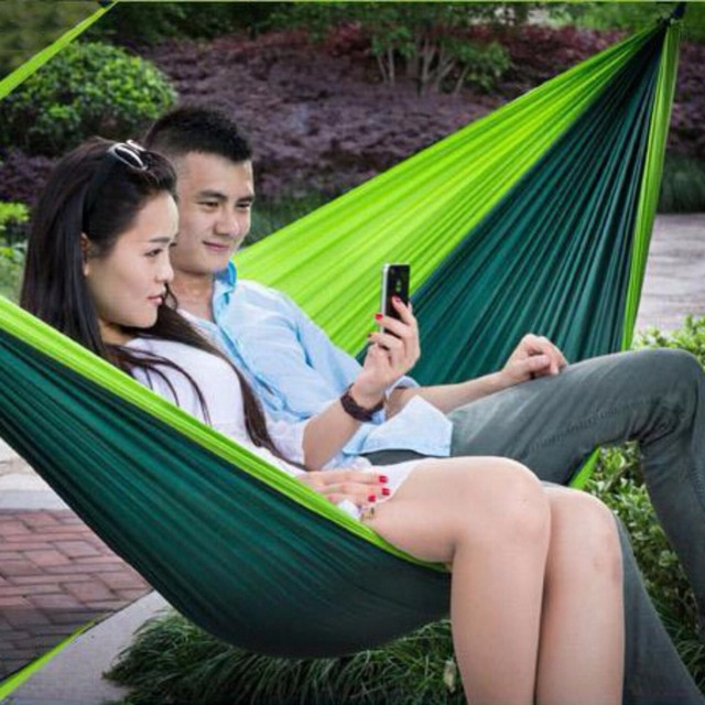Double Outdoor Hammock Swing Bed Portable Parachute Nylon Fabric Blackish Green