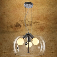 Modern Clear glass pendant lights brief bar personalized glass pendant lamps fixture 3 heads pendant lamps FG902