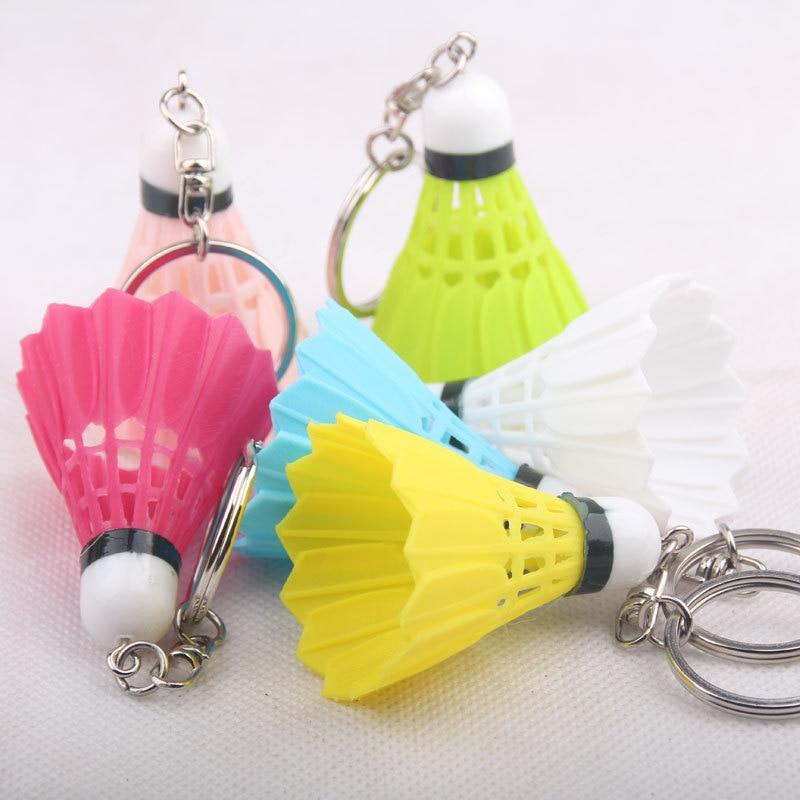 RE 100pcs lot Alloy Plastic Key Chain Mobile Phone Accessories Almost Real Badminton Multiple Mix Colors