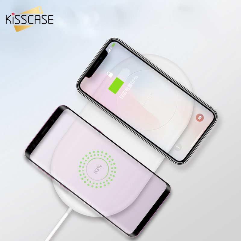 Image 4 - KISSCASE QI Wireless Charger 2 in 1 Charging for Samsung S9 S8 S10 S9Plus Note 8 S8Plus Wireless Charger Pad For iPhone X XR XS-in Mobile Phone Chargers from Cellphones & Telecommunications