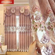 Custom Made Chenille Europe Embroidered Tulle For living Room Bedroom Luxury Jacquard Curtain Window Treatment Drapes
