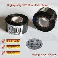 30 мм* 100 м высококачественная черная лента для печатной машины для кодирования даты, горячего тиснения, термотрансферная лента для упаковочной машины