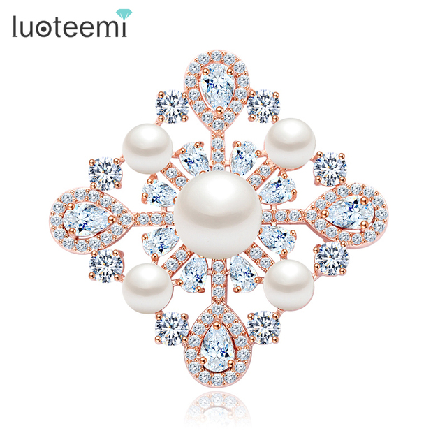 LUOTEEMI Jewelry New Wedding Square Shape Clear CZ Stone Imitation Pearl Brooch Pins for wedding Clothes Apparel accessories