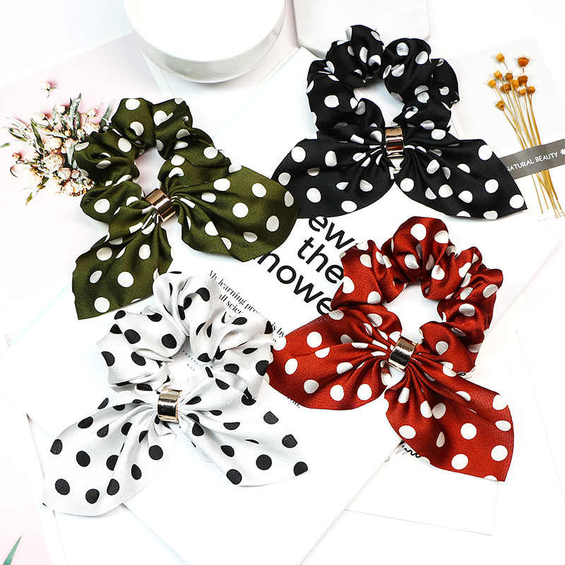 Polka Dot Women Elastic Hair Rope Ring Tie Scrunchie Ponytail Holder Hair Band Headband Soft and Comfortable Apparel Accessories