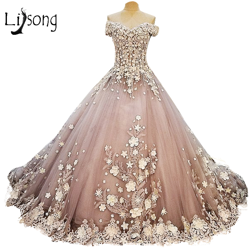 Blush Pink Dubai  Wedding Dresses 2017 Floral Empire Watteau Train Beaded Bridal Gowns Off Shoulder Vestidos De Novia A148