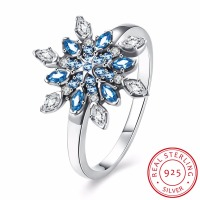 INALIS Snowflake Genuine Blue Topaz Ring Solid 925 Sterling Silver Jewelry Fashion Ring For Women Christmas