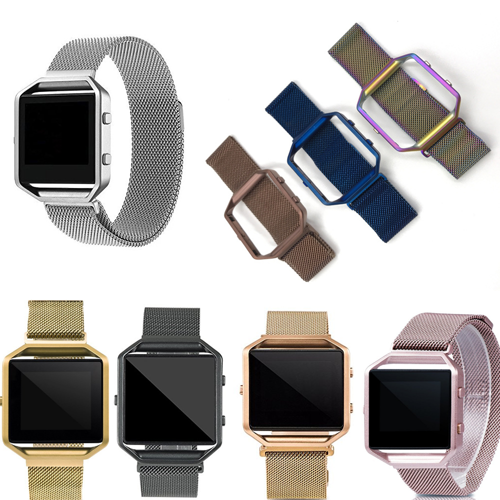 23mm Milanese Loop Strap + Metal Frame for Fitbit Blaze Stainless Steel Watch Band Magnetic Lock Bracelet Black Rose Gold Silver carlywet 23mm black 316l stainless steel replacement watch strap belt bracelet with case metal frame for fitbit blaze 23 watch