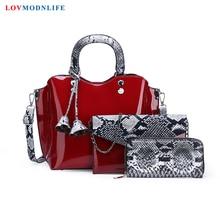 Patent Leather Women Handbags 3 Sets Luxury Brands Tote Bag Ladies Shoulder Bag Snake Print Clutch Messenger Bags Bolsa Feminina