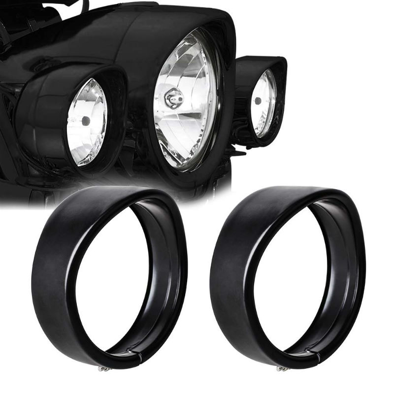Motorcycle 4.5Inch Visor Style Fog Light Trim Ring Cover Bazel For FLD Touring Bikes Road King 1986-later Softail