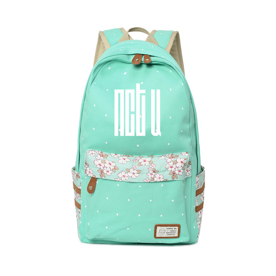 NCT Backpack New Style Teenagers Fans NCTU Cartoon Backpacks Travel point Kawaii Flower wave point Anime Bags Kindergarten Bags