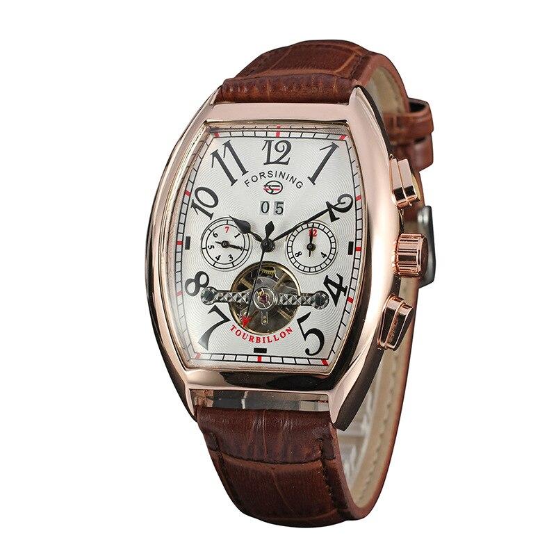 FORSINING Auto Men s Wristwatch Retro Vintage Tonneau Rose Gold Case Relogio Tourbillon Male Clock Date