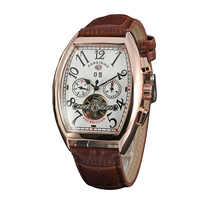 FORSINING montre pour homme automatique rétro Vintage Tonneau or Rose boîtier Relogio Tourbillon mâle horloge Date jour montre mécanique