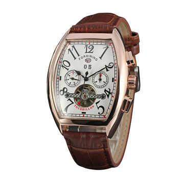 FORSINING Auto Men\'s Wristwatch Retro Vintage Tonneau Rose Gold Case Relogio Tourbillon Male Clock Date Day Mechanical Watch - DISCOUNT ITEM  15 OFF Watches