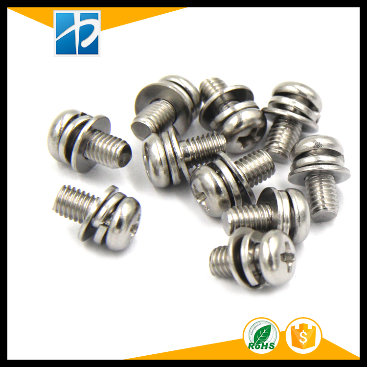(50 pc/lot) metric thread M2,M2.5,M3,M4 stainless steel Phillips Pan Head Three Combination Screw Three sem screws with washer din912 304 stainless steel screw hex socket screws cup head cylindrical head three combination m2 5 m3 m4 m5 m6 m8 screw washer
