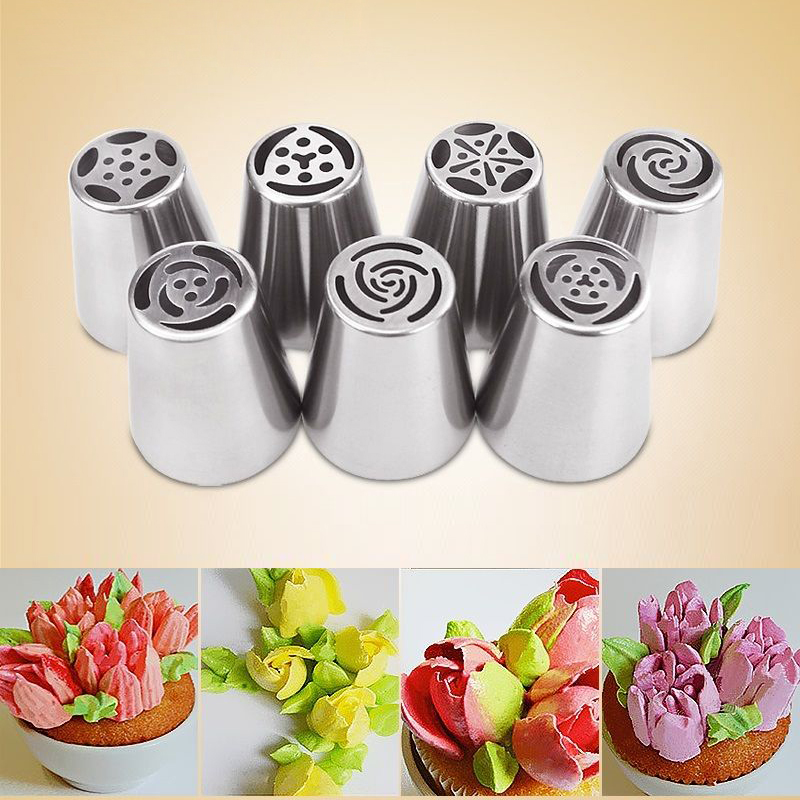 7Pcs set Russian Tulip Icing Piping Nozzles Cake Decoration Tips 3d printer nozzle Biscuits Sugarcraft Pastry Baking Tool DIY