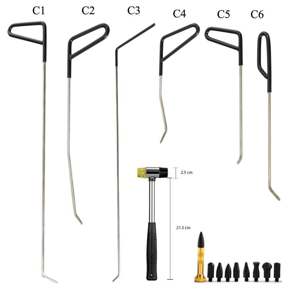 WHDZ Set Auto Body Dent Removal Pdr Rod Tool Kit- Hail and Door Ding Repair Starter with Dent Hummer Aluminum Tap Down pdr rod tool kit set door ding repair hail damage repair with with 9 heads aluminum tap down dent hammer paintless dent removal