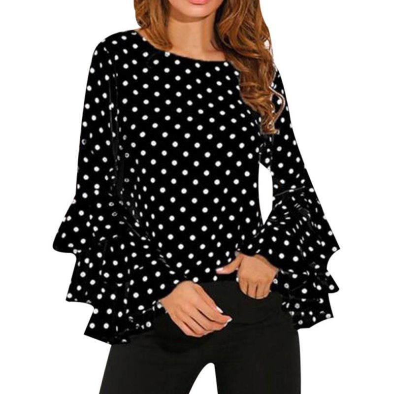 Women Flare Long Sleeve T Shirt Tops Polka Dot Loose T-Shirts Plus Size