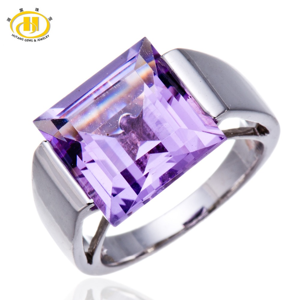 Hutang Big Square Amethyst Gemstone Jewelry Fine Rings for Women 925 Sterling Silver Finger Ring Punk Ladies Anel Koyle Wedding