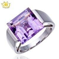 Hutang Duży Plac Amethyst Gemstone Biżuteria Drobne Pierścienie dla Kobiet 925 Sterling Silver Ring Finger Punk Panie Koyle Anel Ślub