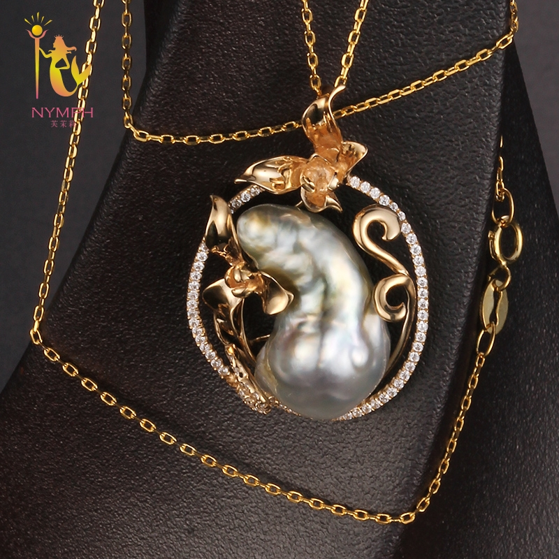 [NYMPH] Natural Pearl Necklace Pendant 13-14mm Pearl Baroque Pearl Pendant Trendy Party Gift For Women D307 цена