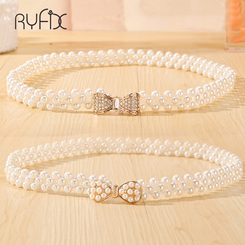 2019 New Fashion Small Gold Buckle Inlaying Imitation Pearl Elastic   Belts   For Women dress bowknot decoration Female Strap BL243