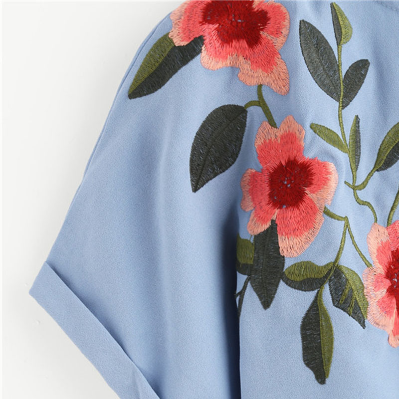 HTB1rw6NRXXXXXbZXpXXq6xXFXXXD - Flower Embroidered Summer Blue Short Sleeve Shirt PTC 166