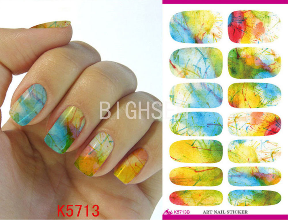 New Yellow Full Cover Nail Art Stickers Nails Art Water Decals All ...