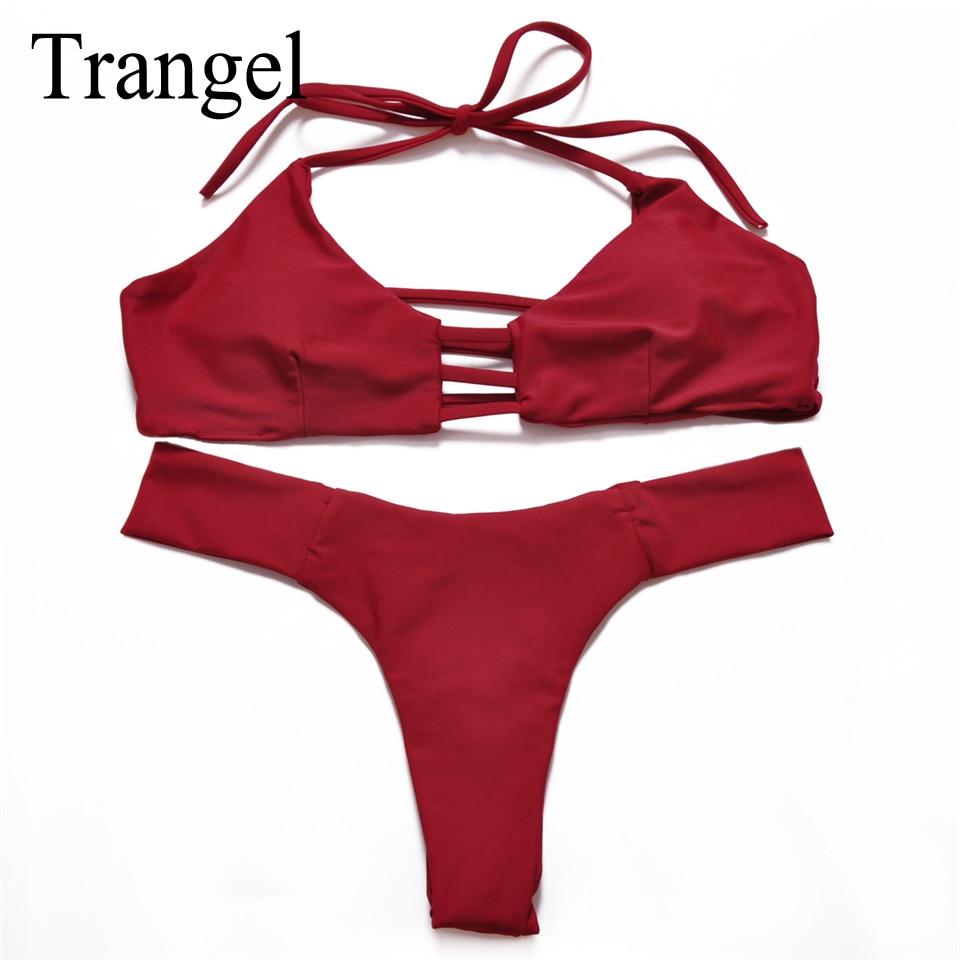 Trangel sexy women swimsuit vintage solid wine red bikini set push up swimwear summer wear bathing suit maillot de bain female
