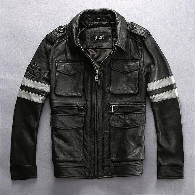 2017 Games Resident Evil Genuine Leather Jacket Men Black Turn-dowm Collar Real Cowhide Slim Fit Men Winter Coat FREE SHIPPING