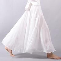 2019 Women Cotton Linen Long Skirts summer vintage Ruffles Skirts Solid color elegant Large size A Line Skirts women