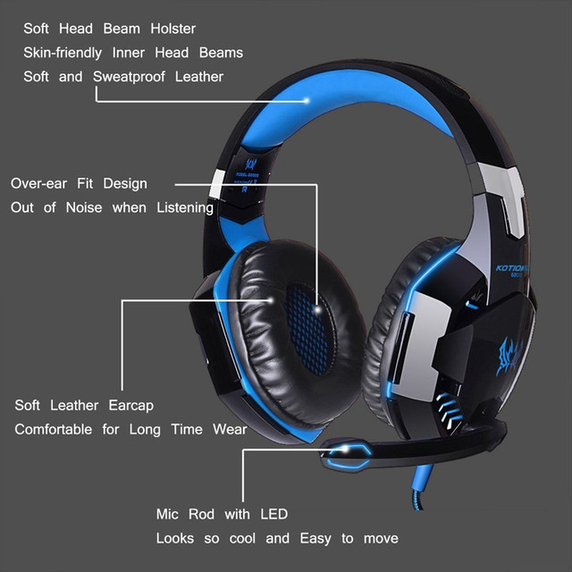 Gaming Headphone Kotion EACH G2000 Stereo Game Headsets cesque with Microphone LED Light for Computer PC Gamer fone de ouvido