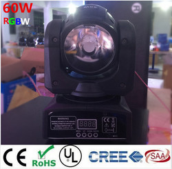 60 W LED Spot Luz de cabeza móvil dj controlador lámpara LED luz 60 W RGBW 4in1 haz de punto mini led Luz de cabeza móvil