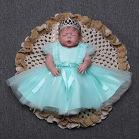 Princess Girl bebes reborn full body silicone baby dolls alive newborn babies with wedding dress 55cm child toy doll gift