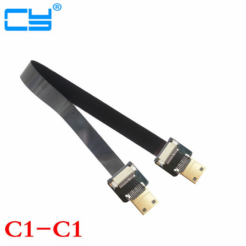 Noul Mini HDMI Male la Mini HDMI Male FPC Flat FPV Cablu HDMI pentru fotografiere aeriene multicopter 10cm / 20cm / 30cm / 50cm / 80cm / 100cm