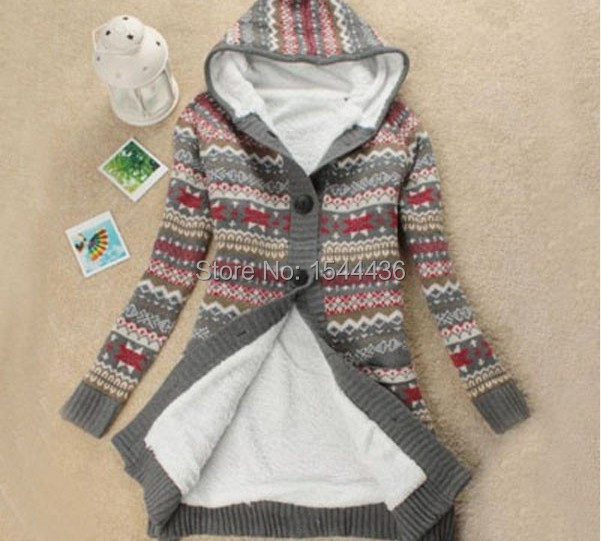 free shipping#Women Knitwear Thick Winter Hooded Cardigan Coat ...
