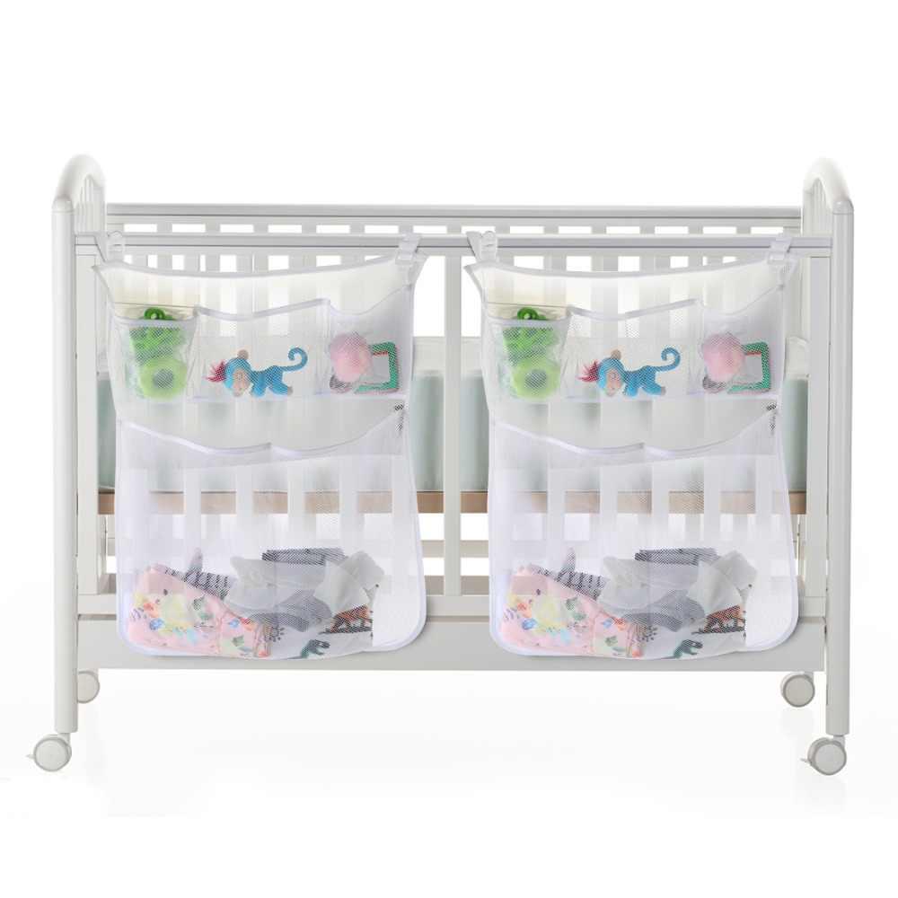 2 шт. детская кровать висячая сумка для хранения Органайзер для подгузников детские кроватки Детская кроватка игрушка Карманный сетчатый набор аксессуары для колыбели