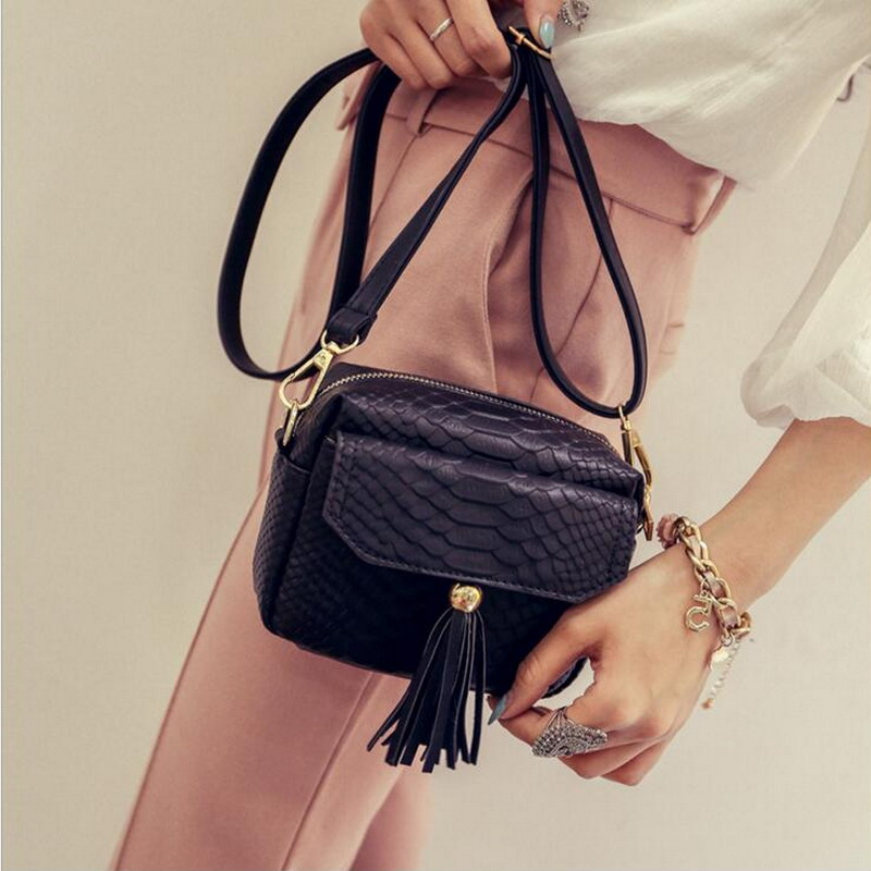 Simple Alligator Crocodile Leather Mini Small Women Fringed Crossbody bag Tassel Messenger Shoulder Bag Sling Purse